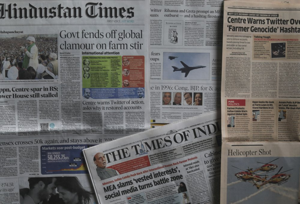 Indian Newspapers Carry News Of People From India And Outside Tweeting About The Farmer Protests In New Delhi