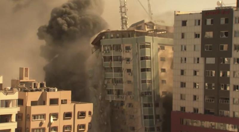 israel strike in gaza destroys building