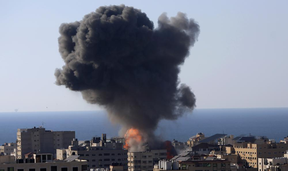 israeli airstrikes on a building in gaza city