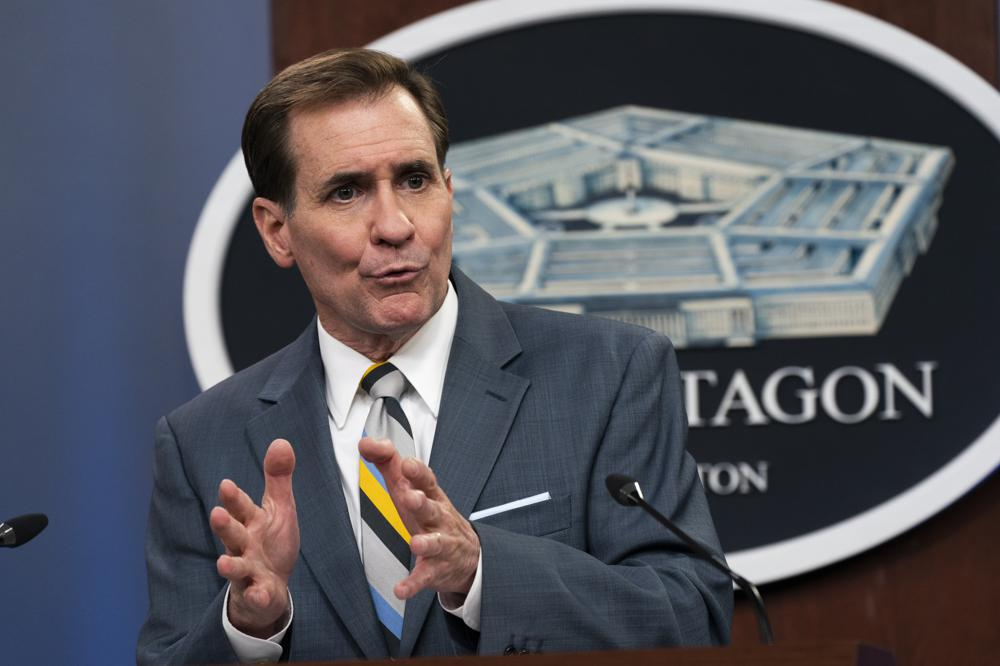 pentagon spokesman john kirby speaks during a briefing at the pentagon in washington
