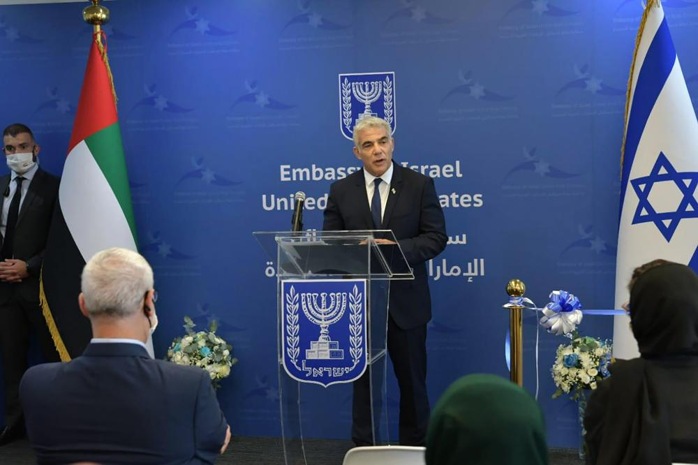 israeli foreign minister yair lapid speaks during the inauguration of the israeli embassy in abu dhabi