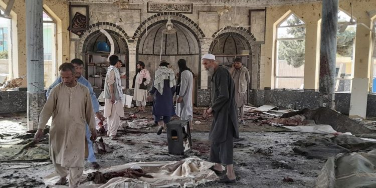 is bomber kills 46 inside afghan mosque, challenges taliban